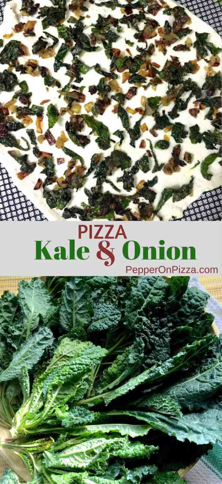 Easy Kale and Onion Pizza with homemade dough topped with sautéed onion and fresh kale, with Superfood kale's disease fighting properties.