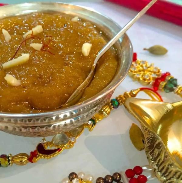 Badam Halwa_festive sweet of of Saffron and Almonds_