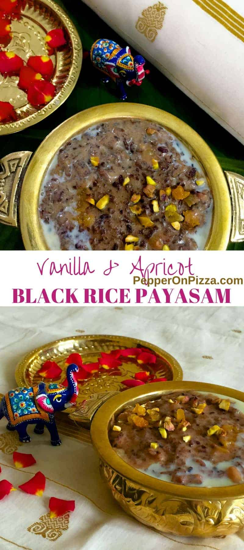 Exotic Healthy Black Rice Kheer Payasam of Vanilla, Apricot and Pistachio. The Black 'Forbidden Rice' is nutritious, fragrant with a pleasant nutty taste.
