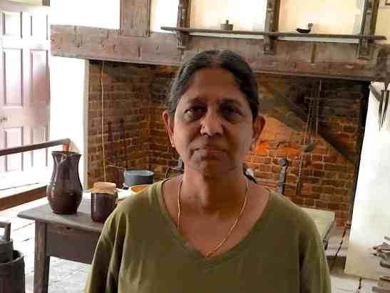 Sujata Shukla on a recent visit to Virginia at the kitchen of the George Washington family Plantation