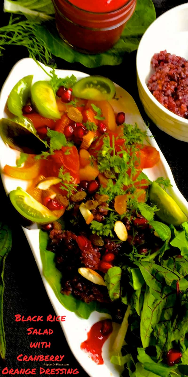 Sticky Black Rice Salad, herbs and cranberry orange dressing. Superfood Black Rice and cranberries are rich in disease fighting antioxidants