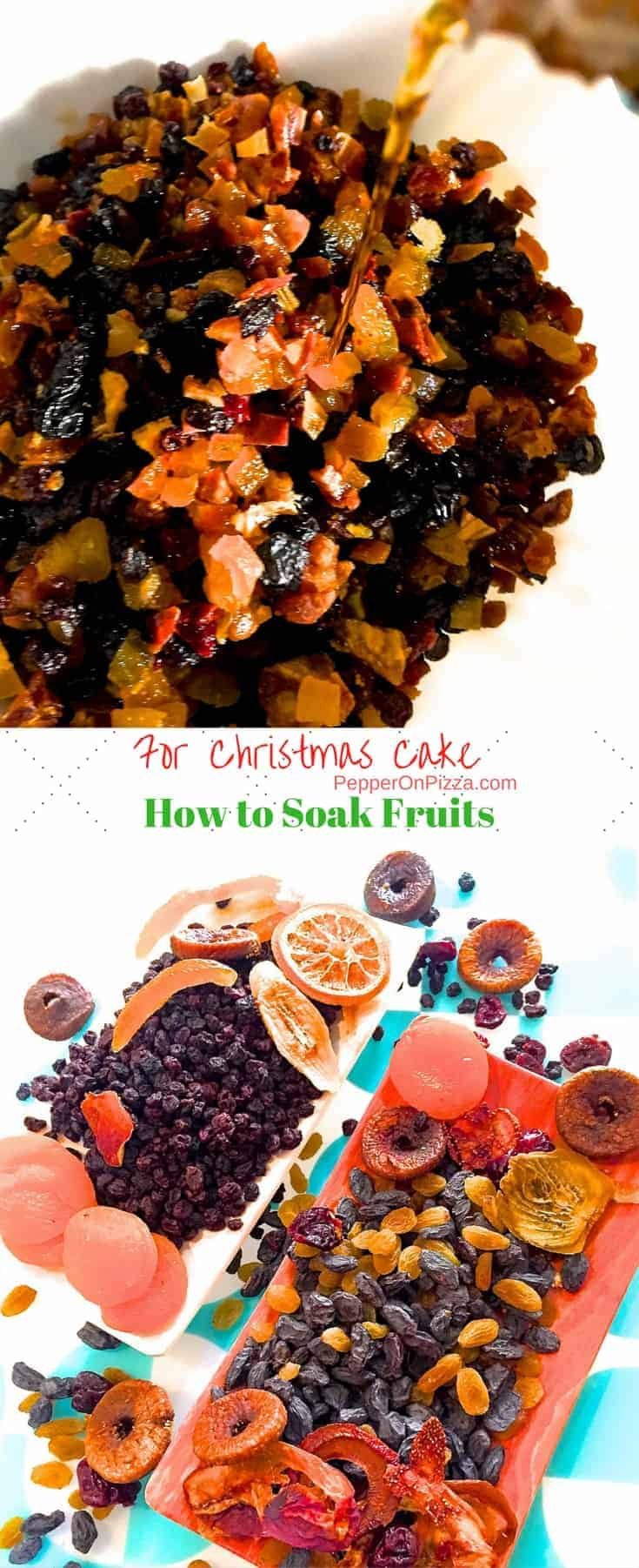 How to Soak Fruits for Christmas Fruit Cake, when to soak and what fruits to use, how to feed the fruit till baking time. Non alcoholic soaking or with alcohol