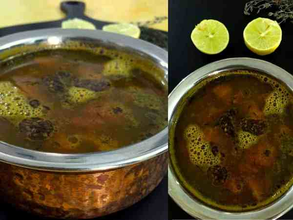 Lemon Thyme Rasam - fresh thyme adds a twist to the traditional South Indian spiced lentil and tamarind soup. Rich in nutrients, makes a tasty Soup too!