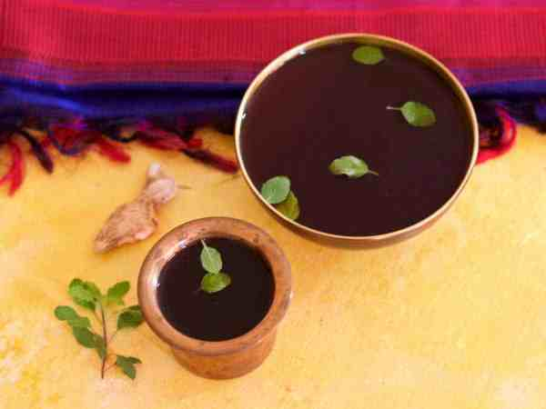 Panakam or Panagam: Traditional chilled drink of Jaggery water with dry ginger -specially made for Sri Rama Navami festival - easy, refreshing and healthy