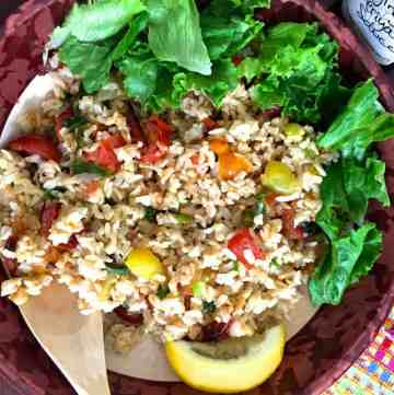 Brown Rice Salad with Roasted Tomatoes and Asparagus_PepperOnPizza.com
