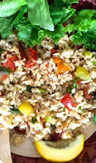 Brown Rice Salad with Roasted Tomatoes and Asparagus