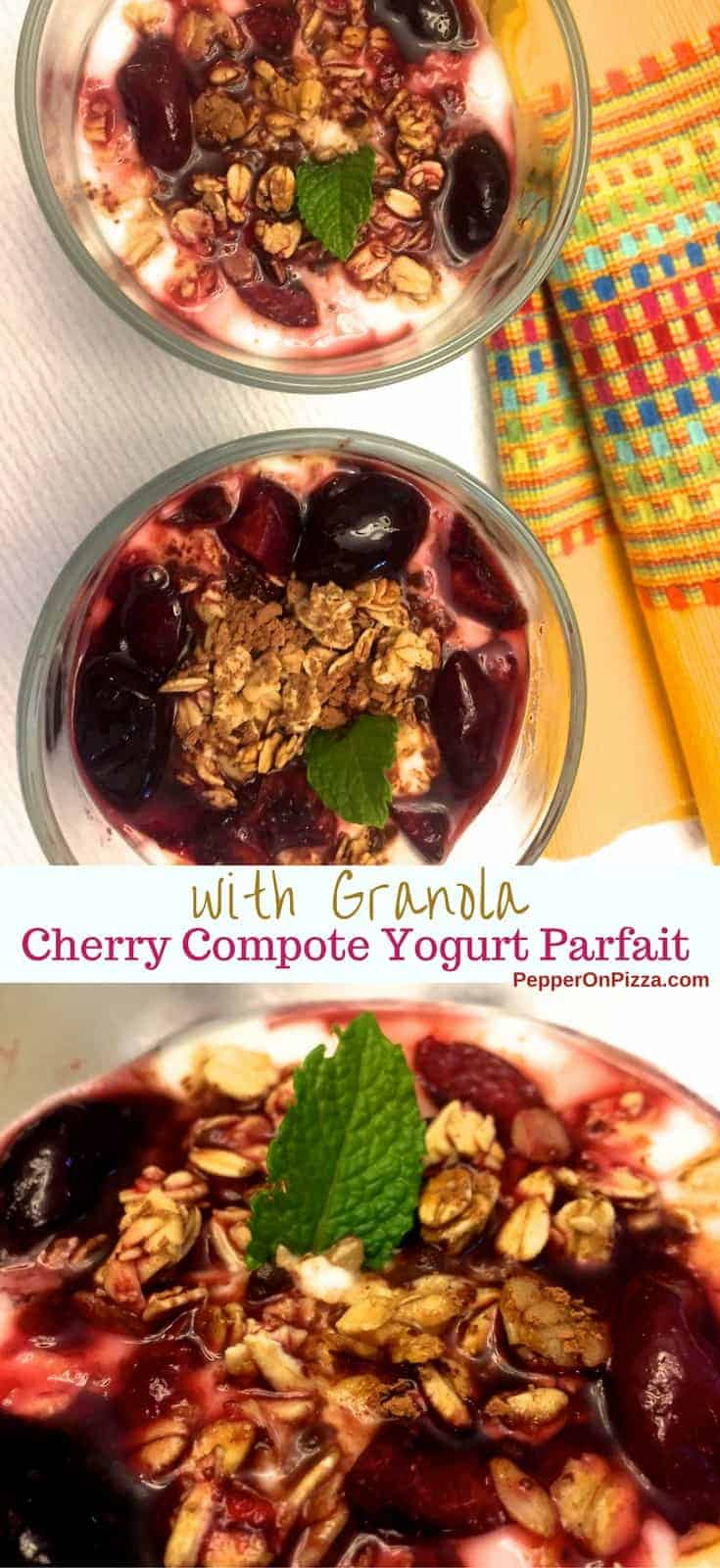 Easy to make, delicious Cherry Compote Yogurt Parfait with Granola. Sweet cherries, granola or nuts with cocoa powder and cherry compote topping the yogurt.