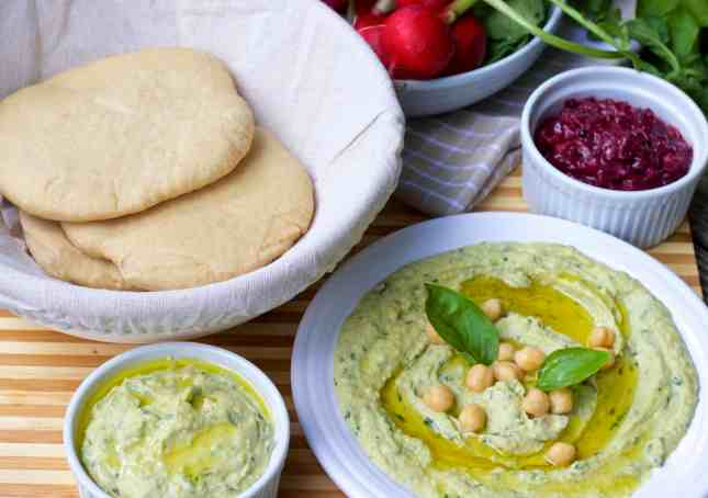 Simple Fresh Lemon Mint Basil Hummus Dip which is easy to make and has all the goodness and flavours of the herbs and garlic. Serve with homemade pita bread