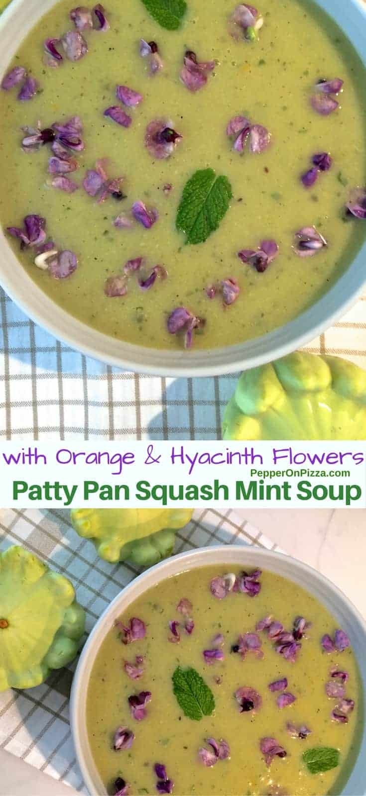 Green Patty Pan Squash Mint Soup with Orange, Hyacinth, Green Capsicum plus a dash of cumin and pepper to spice it up. Delicious, refreshing, easy, healthy