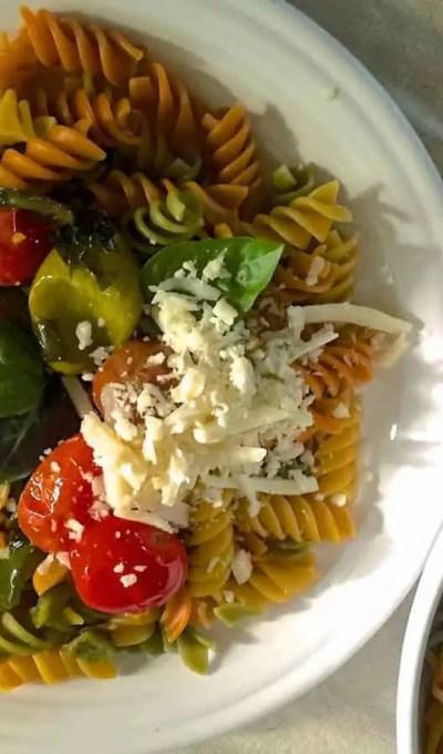 Quick Rotini Pasta in Garlicky Burst Cherry Tomato Sauce
