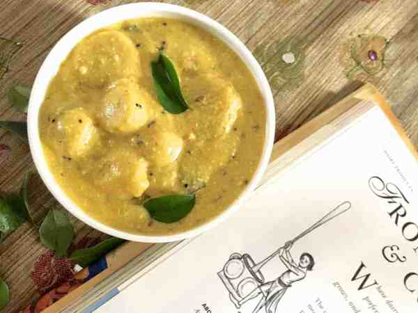 Traditional Arbi ki Kadhi, this simple curry of boiled colocasia in yogurt gravy, from Chattisgarh cuisine, is a delicious treat with hot rice and ghee or with roti. Easy to make and has very little oil or spice and is yet so tasty! Its an all weather comfort food!