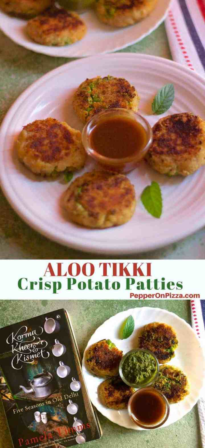 Aloo Tikki - mouth watering crisp fried Potato Patties, a favourite Indian street food, from a recipe out of Pamela Timms delicious travel and food memoir, Korma Kheer & Kismet - Five Seasons in Old Delhi. Serve with spicy green chutney and sweet and sour tamarind chutney and yogurt.