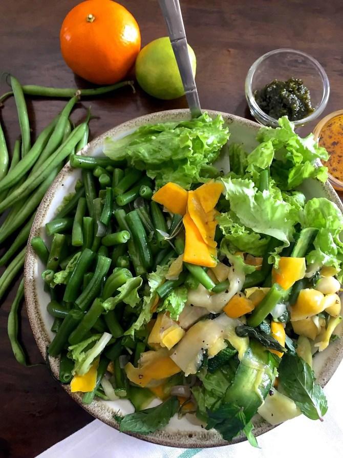 Pesto Green Bean Zucchini Ribbons Salad