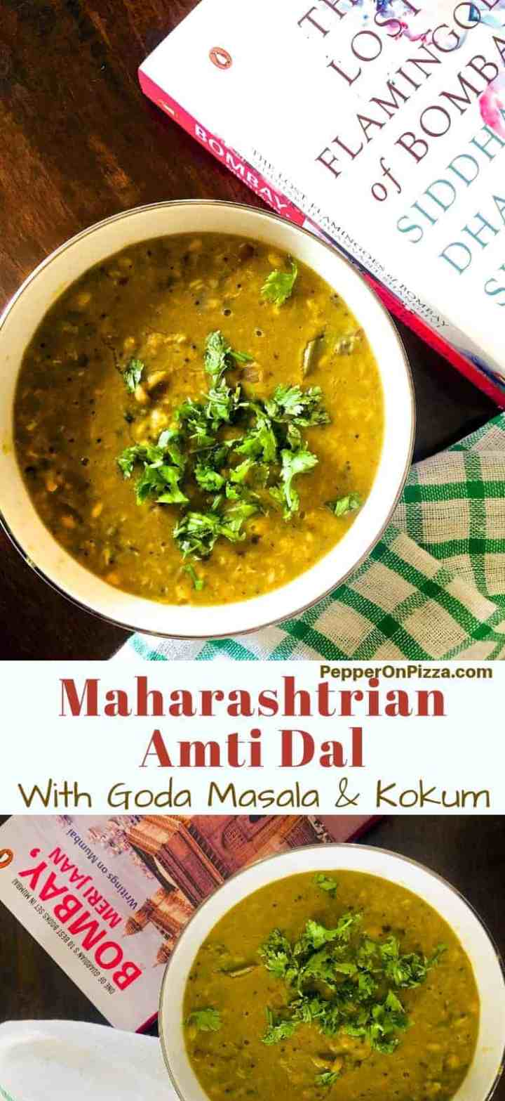 Maharashtrian Amti Dal with Goda Masala and with five different lentils. Also seasoned with Kokum shells and fresh Coconut. A traditional, nutritious, vegan, gluten free and flavourful dal. Easy to make too.
