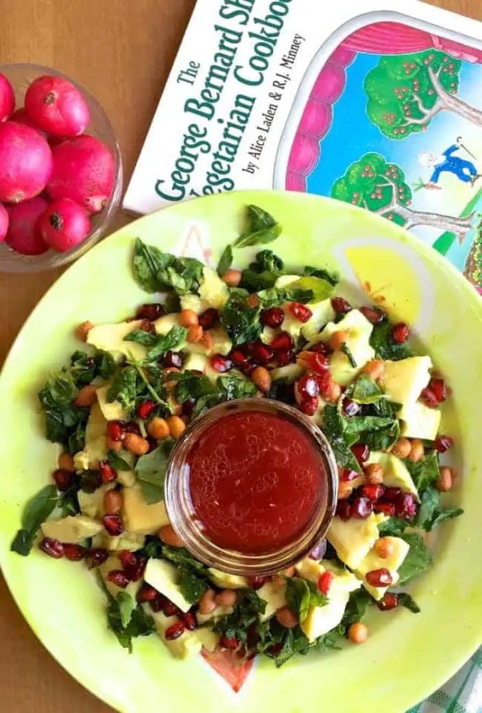 Easy tasty Avocado Fenugreek Leaves Peanut Feta salad with a dressing of Pomegranate and honey