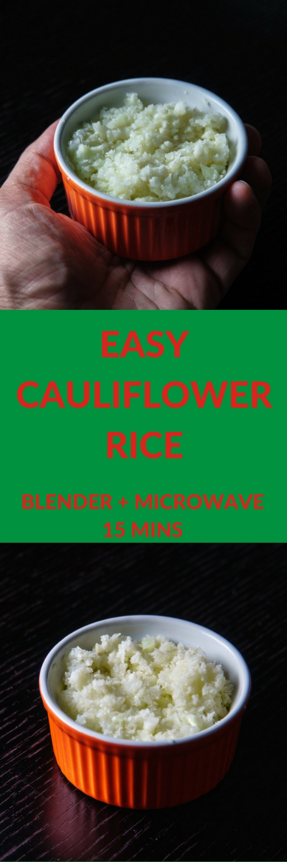 Easy Cauliflower Rice - Blender and Microwave 15 Minute recipe