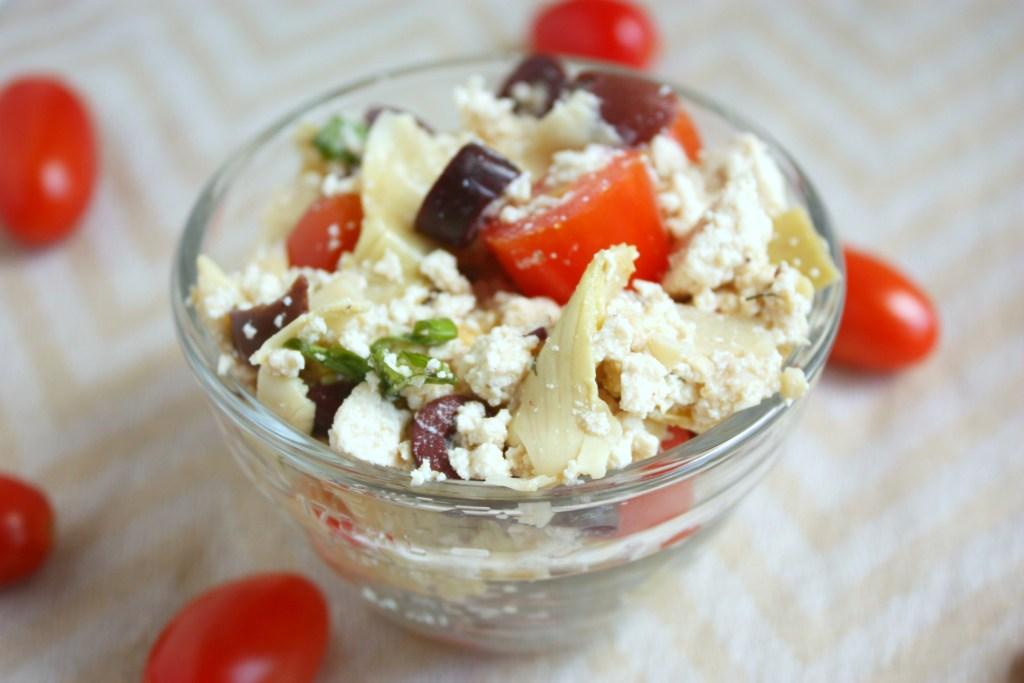 Greek Artichoke Salad with Tofu Feta