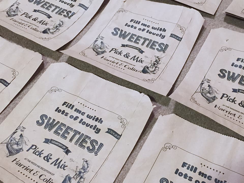 Pick and Mix sweet bags custom printed at home with a design that we created themed to 'the owl and the pussycat'