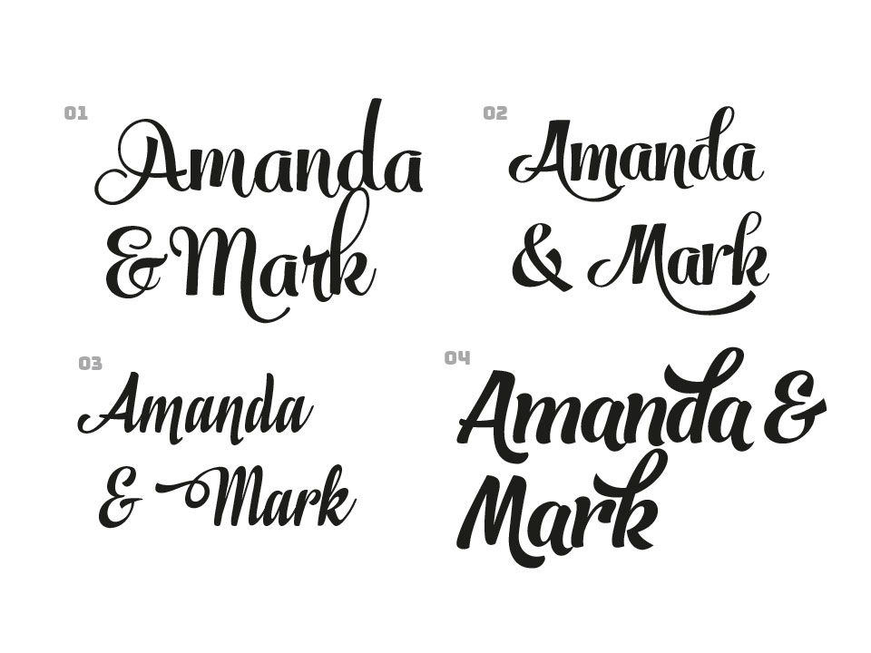 Names Amanda and Mark set in 4 different fonts.