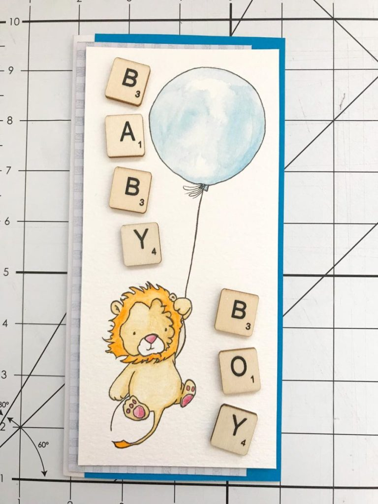 hand made congratulations card for a baby boy
