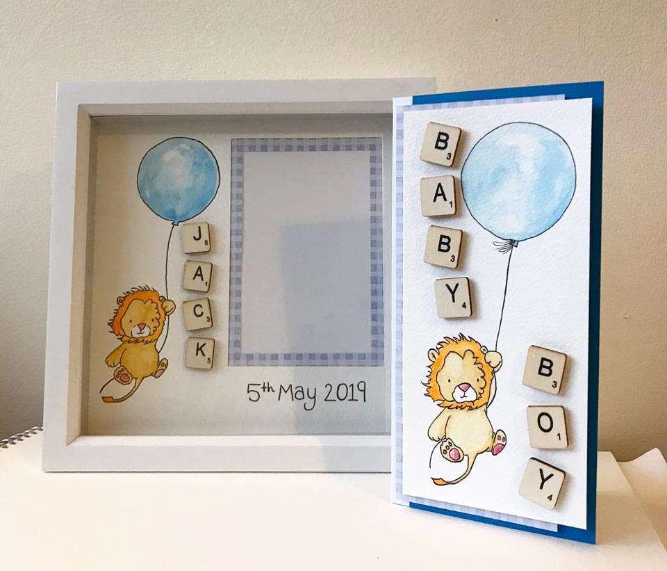 Handmade nursery decor gift set. The completed craft project.