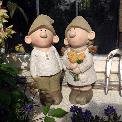Bill and Beryl Elves standing rose, Garden Ornament, Gnome, Garden Fairy, Troll, Imp Rose