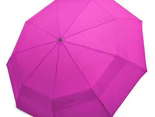 EEZ-Y Compact Travel Umbrella w/ Windproof Double Canopy Construction – Auto Open Close Button for One Handed Operation – Sturdy Portable and Lightweight for Easy Carry