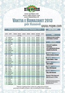 vaktia e ramazanit kosove 2013