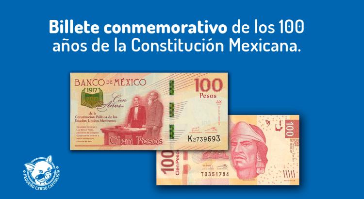 ¿Cómo es el billete conmemorativo de 100 pesos de la Constitución de 1917?