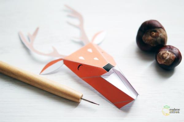 cabezas de animales de origami decorativas