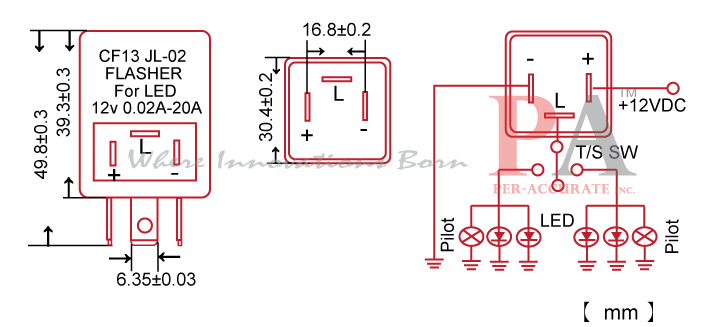 FLCF13_SPEC?resize\\\=665%2C303 turn signal flasher wiring diagram & the turn signal flasher on flasher wiring diagram 12v at creativeand.co
