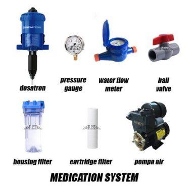 medication system, sistem pengobatan kandang ayam, sistem obat kandang close house, sistem obat kandang open, dosatron untuk pengobatan, dosatron untuk obat ayam