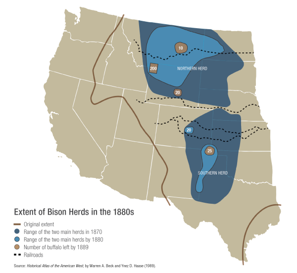 historical map of bison herds