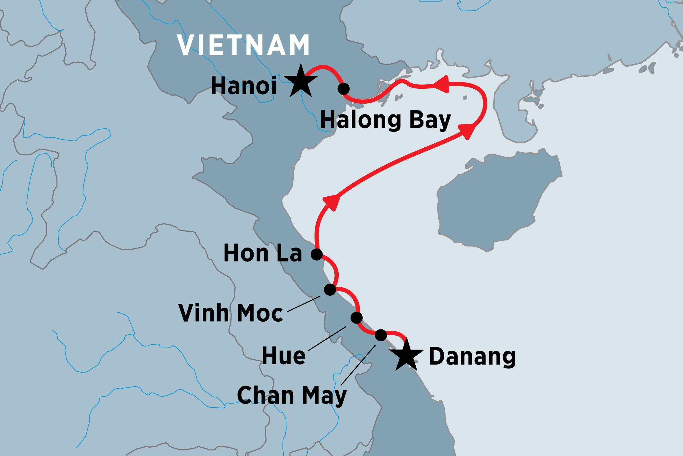 Map Of North Vietnam Coastal Cruising Danang To Hanoi Including Vietnam