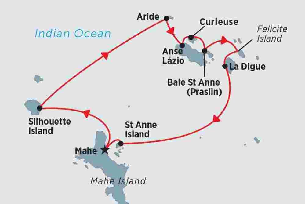 medium resolution of map of cruising the seychelles islands including seychelles
