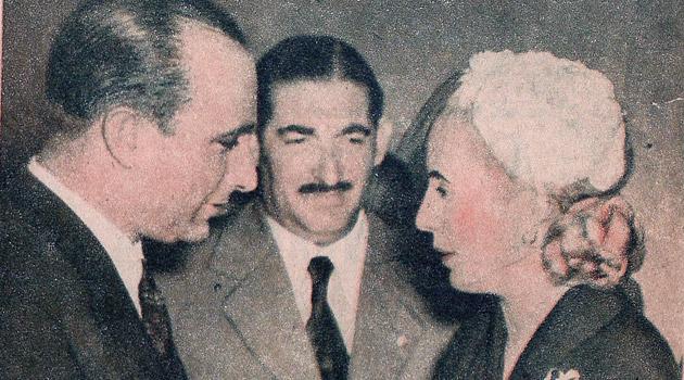 Luis Elias Sojit con Juan Manuel Fangio y Eva Peron
