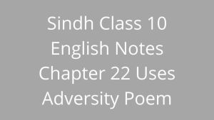Sindh Class 10 English Notes Chapter 22 Uses Adversity Poem