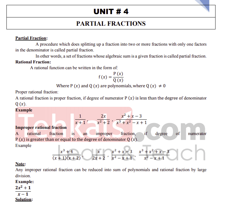 math class 10 notes chapter 4