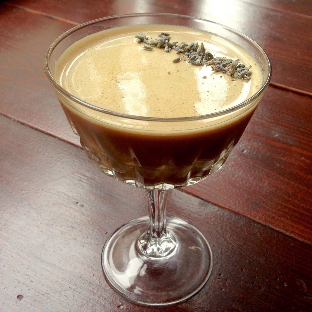 A lavender-syrup based coffee cocktail