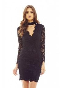 romantic φόρεμα choker δαντέλα σε μαύρο