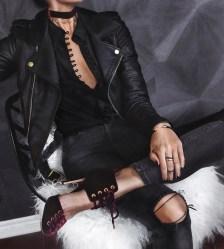 blogger multi buttoned κρεπ μαύρο πουκάμισο
