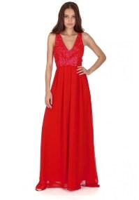 αέρινο maxi φόρεμα δαντέλα σε classic red