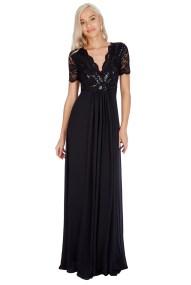 shinny paillete top αέρινο μαύρο φόρεμα Daphne