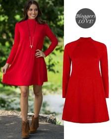 basic high neck swing φόρεμα τουνίκ σε hot red
