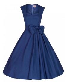 vintage 50s chic midnight μπλε φόρεμα Grazia cotton