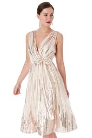 star quality 30s wrap chiffon φόρεμα paillettes σε champagne