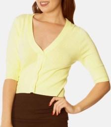 basic fine knit ζακετάκι Carmen σε lemon κίτρινο
