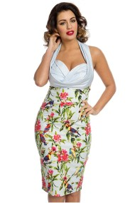 vintage pin up 50s φόρεμα tropical birds Bianca