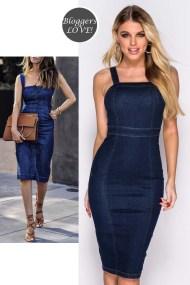 denim blogger sexy midi φόρεμα