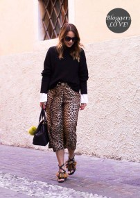 blogger stylish λεοπάρ ζιπ κιλότ